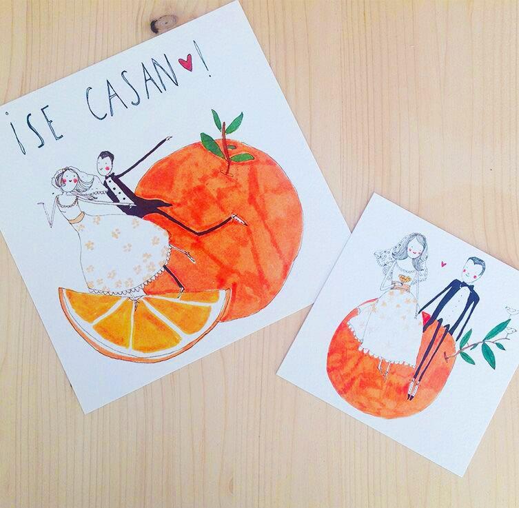 ilustración personalizada bodas naranja