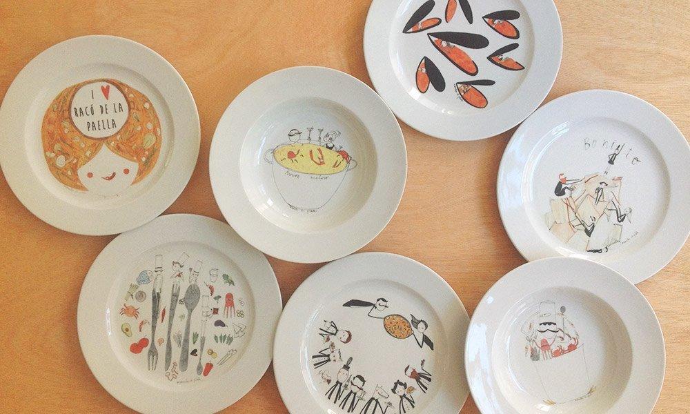 ilustración platos restaurante